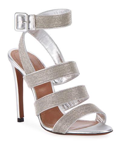 Metallic Beaded Sandals