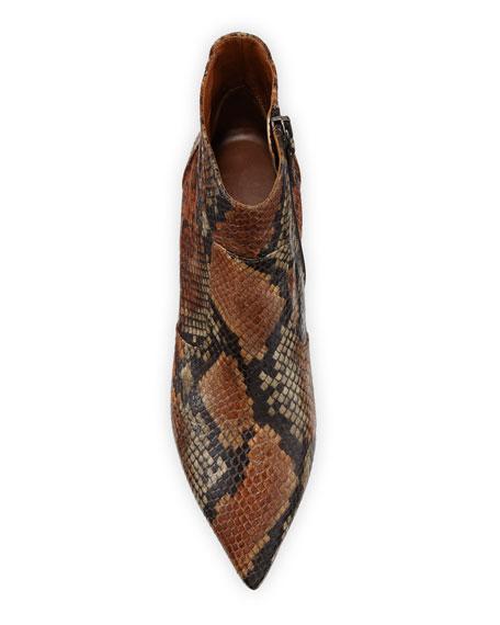 Aquatalia Marilisa Snake-Print Leather Booties