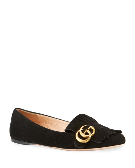 Gucci Marmont Suede Ballerina Flat