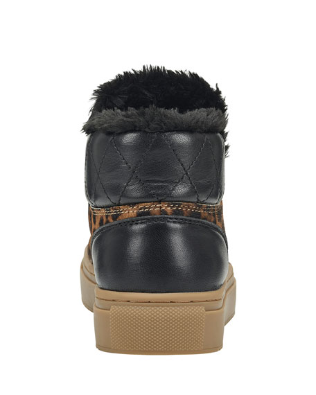 Marc Fisher LTD Daisie 2 Leopard and Faux-Fur Sneakers