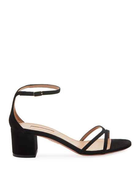Image 2 of 2: Aquazzura Purist Napa Leather Block-Heel Sandals