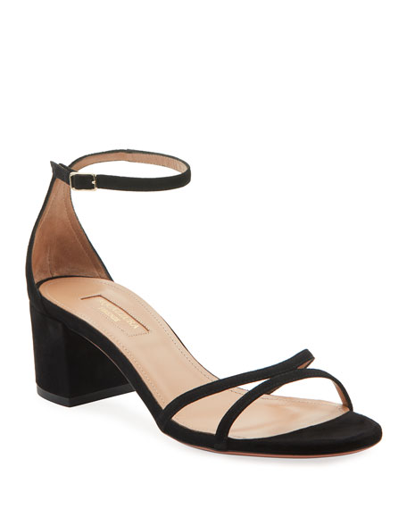 Image 1 of 2: Aquazzura Purist Napa Leather Block-Heel Sandals
