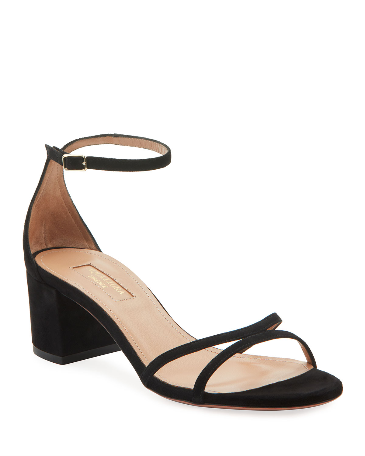 Aquazzura Purist Napa Leather Block-Heel Sandals
