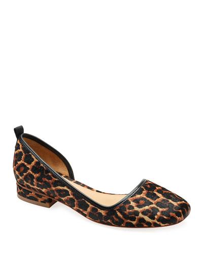 Lola Leopard Calf-Hair Ballet Flats