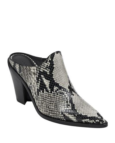 Kaden Snake-Print Leather Slide Mules