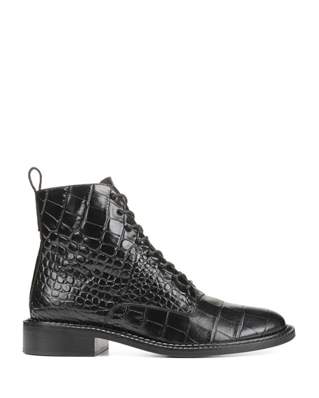 Vince Cabria Embossed Lace-Up Booties