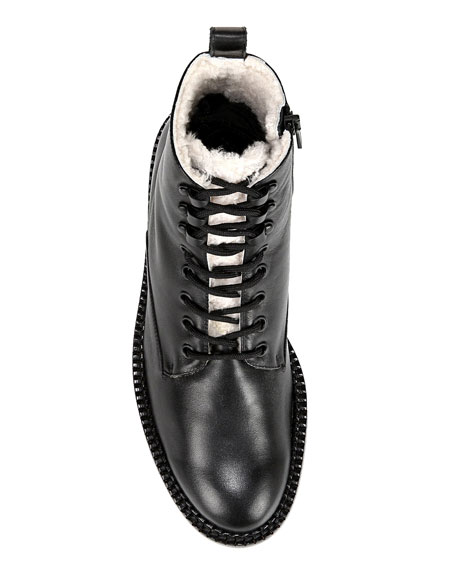 Vince Cabria Lace-Up Booties with Shearling Trim