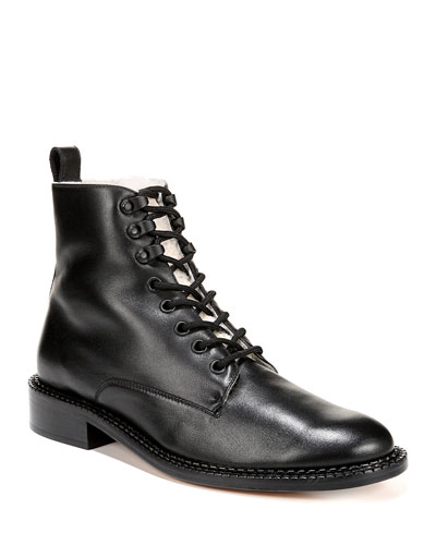 Cabria Lace-Up Booties with Shearling Trim
