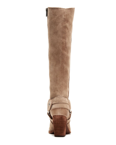 Frye Essa Tall Suede Moto Harness Boots