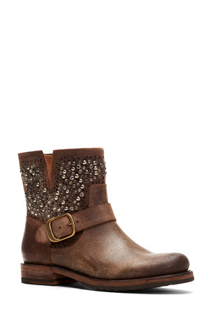Frye Veronica Beaded Rugged Leather Moto Booties