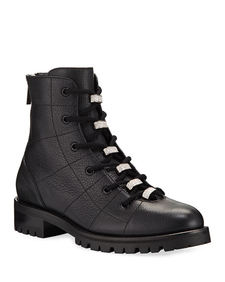 Bren Lace Up Booties With Crystals by Jimmy Choo