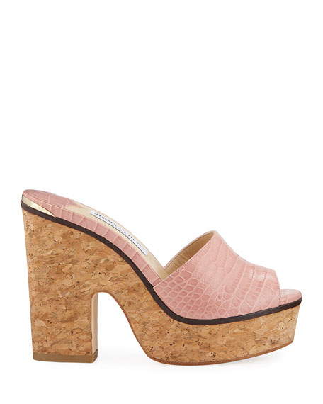 Jimmy Choo Deedee Shiny Cork Platform Sandals