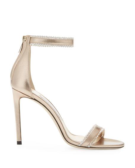 Jimmy Choo Dochas Jeweled Metallic Leather Sandals