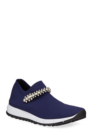 Jimmy Choo Verona Knit Crystal-Strap Sneakers