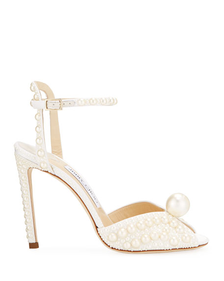 Jimmy Choo Sacora Pearly Satin Cocktail Sandals