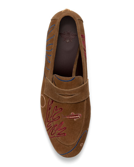Bougeotte Flaneur Coral Reef Suede Loafers