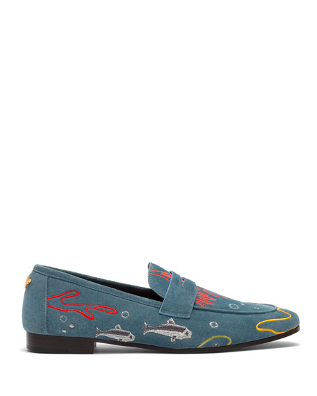 Bougeotte Embroidered Abyss Sardines Suede Loafers