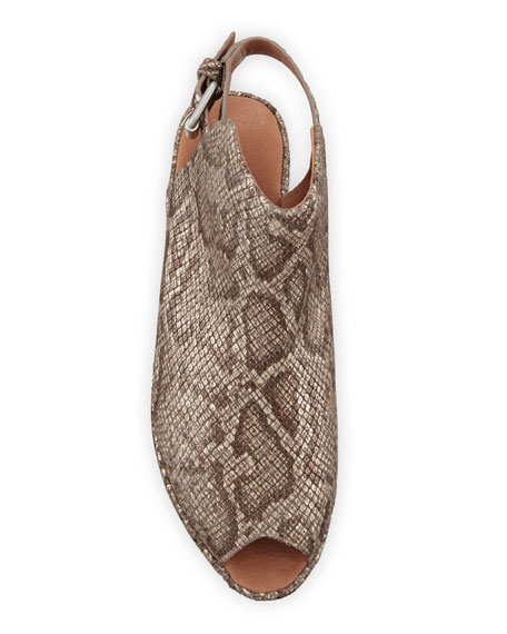 Gentle Souls Lyla Embossed Leather Peep-Toe Wedge Sandals