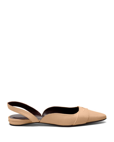 Image 2 of 4: Bougeotte Leather Slingback Ballerina Flats
