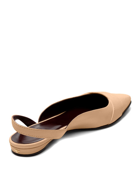 Image 3 of 4: Bougeotte Leather Slingback Ballerina Flats