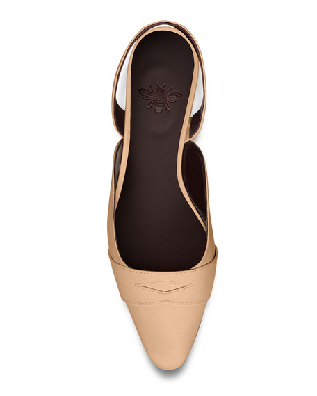 Image 4 of 4: Bougeotte Leather Slingback Ballerina Flats