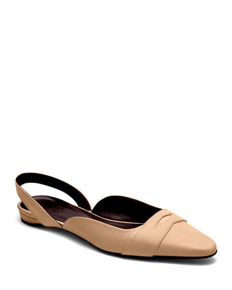 Image 1 of 4: Bougeotte Leather Slingback Ballerina Flats