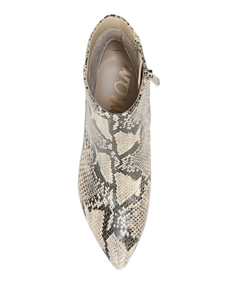Sam Edelman Hilty Snake-Print Leather Booties