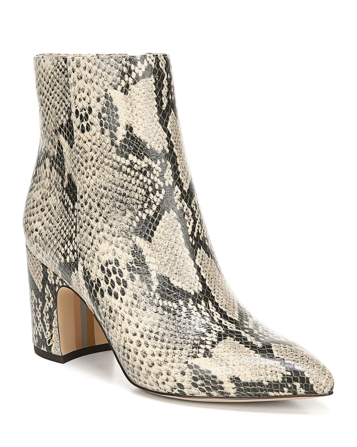 Hilty Snake Print Leather Booties by Sam Edelman