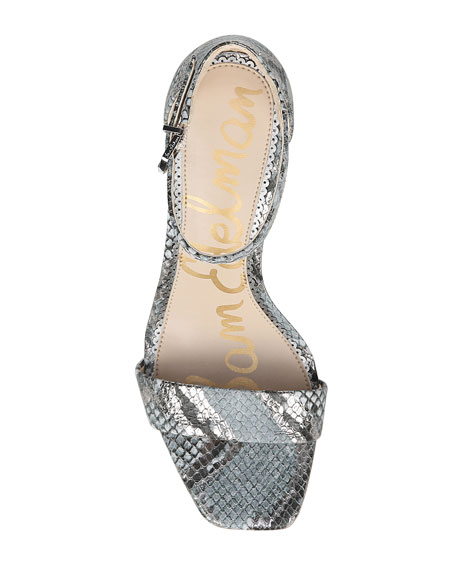 Sam Edelman Daniella Snake-Print Ankle Sandals