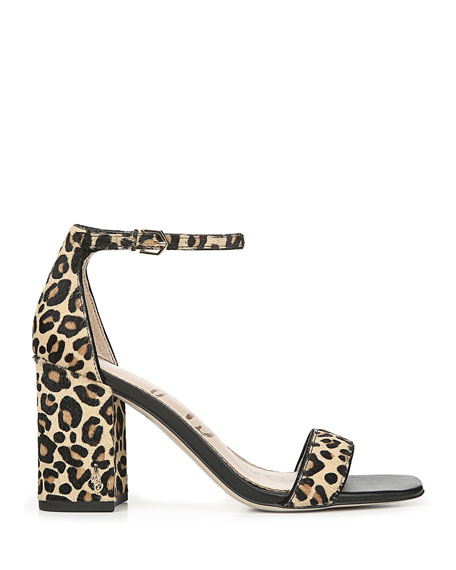 Image 2 of 4: Daniella Leopard-Print Ankle-Strap Sandals