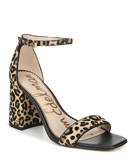 Image 1 of 4: Daniella Leopard-Print Ankle-Strap Sandals