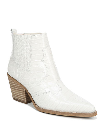Winona Croc-Embossed Leather Western Booties