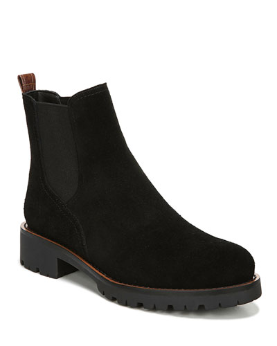 Jaclyn Suede Gored Chelsea Boots  Black