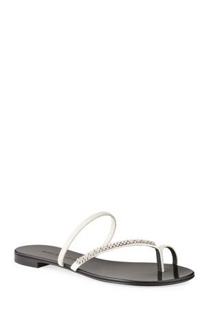 Giuseppe Zanotti Crystal-Embellished Flat Toe-Ring Sandals