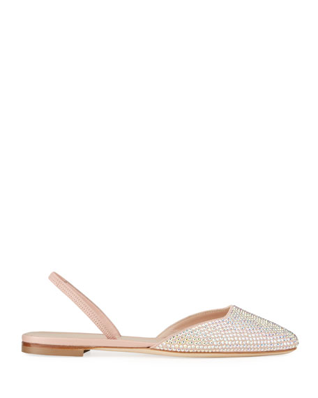 Giuseppe Zanotti Flat Suede and Crystal Halter Flats
