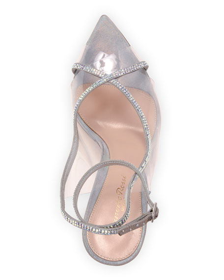 Image 4 of 4: Gianvito Rossi Open-Toe Strass Sandals