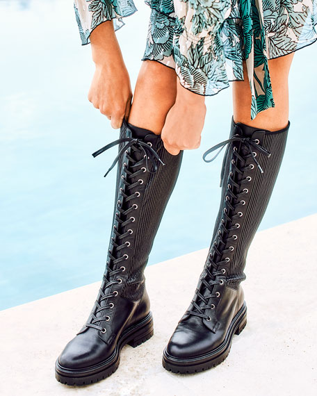 Gianvito Rossi Lace-Up Combat Knee
