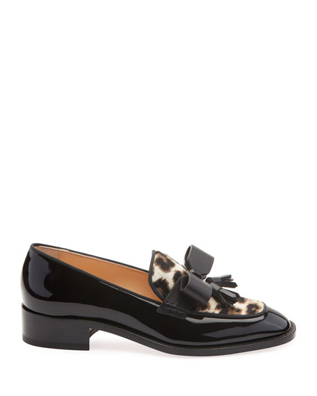 Image 2 of 2: Christian Louboutin Carmela Patent Loafers with Leopard Calf Hair