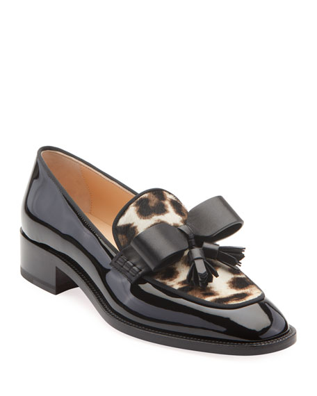 Image 1 of 2: Christian Louboutin Carmela Patent Loafers with Leopard Calf Hair