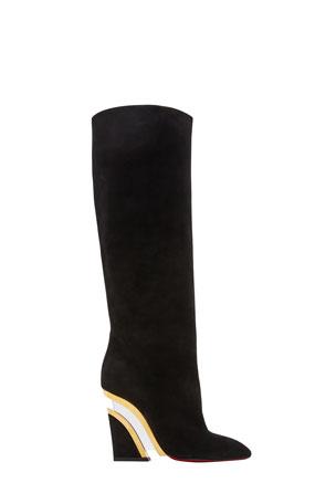 Christian Louboutin Leviti Botta Plexi-Heel Tall Boots