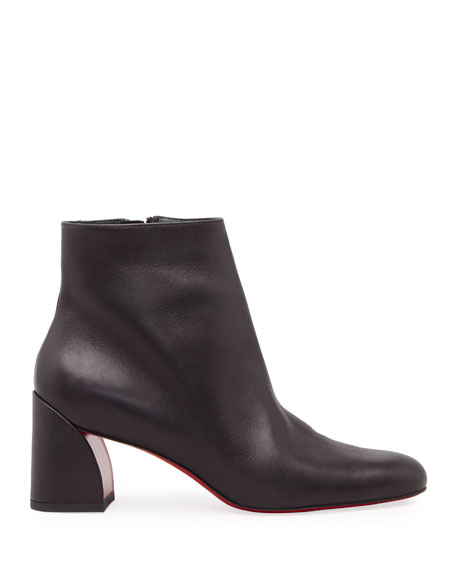 Image 2 of 3: Christian Louboutin Turela Leather Side-Zip Red Sole Booties