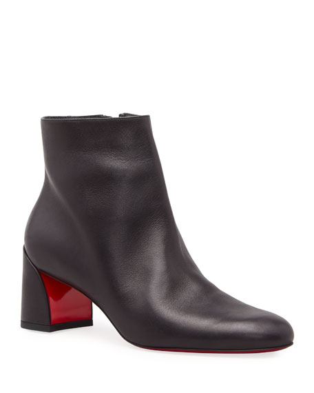 Image 1 of 3: Christian Louboutin Turela Leather Side-Zip Red Sole Booties