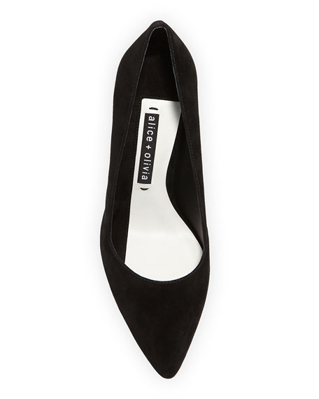 Image 3 of 4: Dina Suede Pointed Pumps