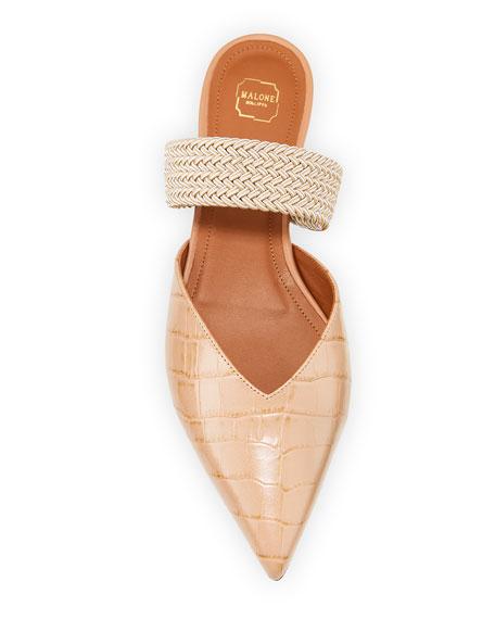 Malone Souliers Mock-Croc Strap Ballerina Flats