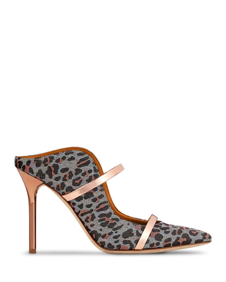 Malone Souliers Leopard-Print Leather Strap Mules