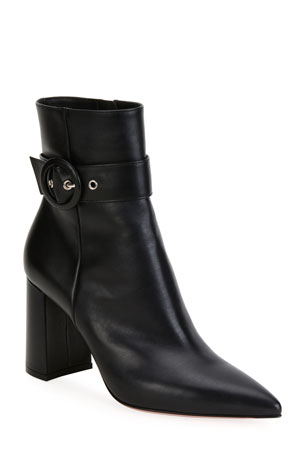 Gianvito Rossi Leather Buckle Pointed-Toe Booties