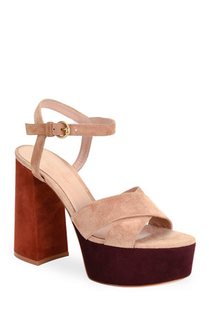 Gianvito Rossi Crisscross Colorblock Platform Sandals