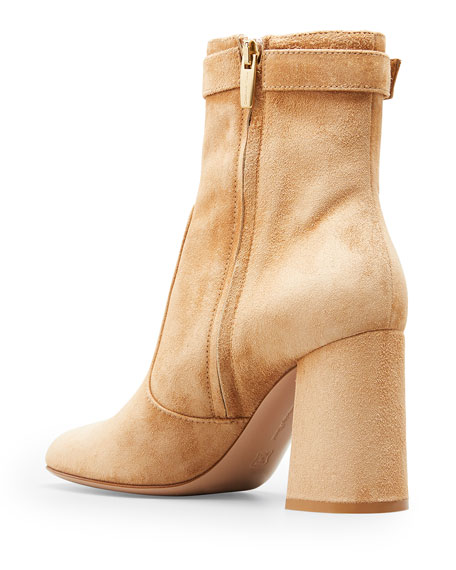 Image 2 of 2: Gianvito Rossi 85mm Suede Buckle Booties