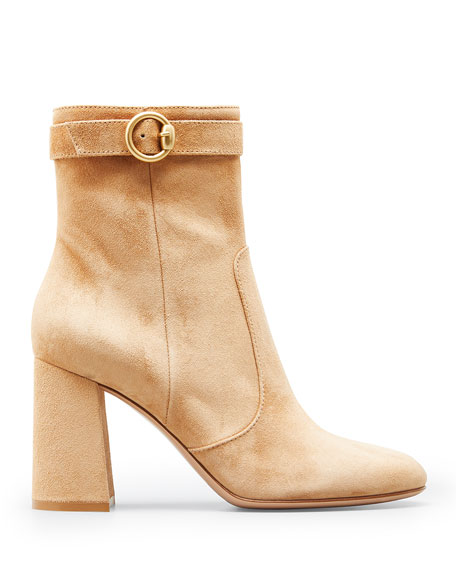 Image 1 of 2: Gianvito Rossi 85mm Suede Buckle Booties