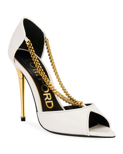 Wishbone Chain Peep-Toe Pumps